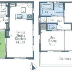 間取り図。2階10.2帖を2部屋に仕切れます。(間取)